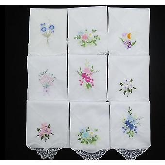 Women Hankies Embroidered Lace Flower Hanky Floral Random Color Cloth Fabrics