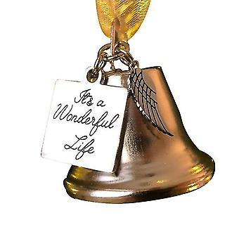 'it's A Wonderful Life' Christmas Stainless Steel Angel Wing Bell, Christmas Pendant Gift