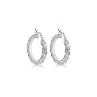 Eternity Sterling Silver Diamond Cut Satin Creole Hoop Boucles d'oreilles