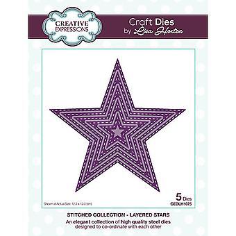 Kreative uttrykk sydd samling cutting dies - lagdelte stjerner