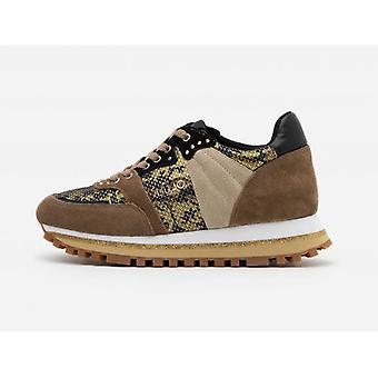 Shoes Sneaker Liu-jo Wonder 13 Suede Brown/ Ecopelle Python Woman D21lj13
