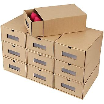 FEMOR Schuhaufbewahrung Set, 10PCS Aufbewahrungsbox DIY Schublade Pappe aus Kraftpapier