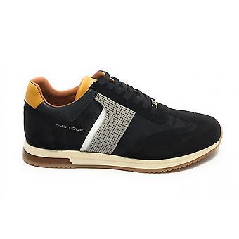 حذاء الرجال الطموح 11319 حذاء رياضي تشغيل جلد الغزال البحرية الزرقاء US21am14