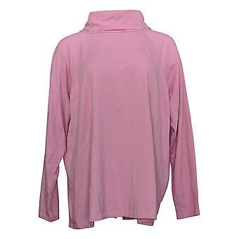 Isaac Mizrahi Live! Women's Plus Top Long Sleeve Turtleneck Pink A387341