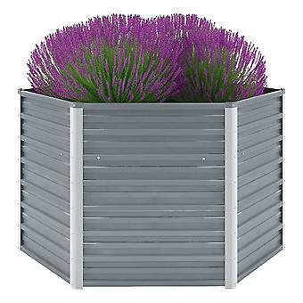 Garden Raised Bed Galvanised Steel 129x129x77 Cm Grey