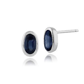 Aretes clásicos de zafiro azul claro claro ovalado en oro blanco de 9 quilates 6x4mm 117E0008039