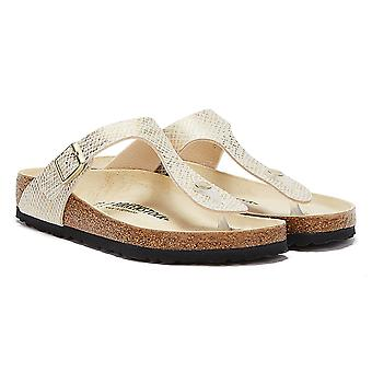 Birkenstock Gizeh Shiny Python Womens White / Gold Sandals