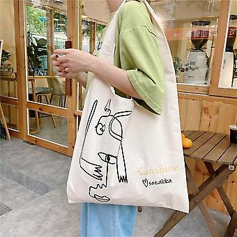 Personality Thin Canvas Bag With Interesting Lines Students Use Tutorial Bag