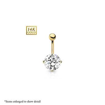 Solid gold navel ring with round prong set cubic zirconia