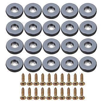 20 piezas Dia 25mm PTFE silla muebles pies desliza almohadillas redondas con tornillos