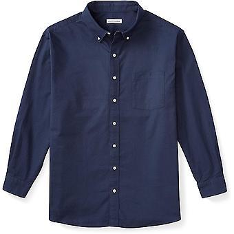 Essentials Men's Big & Tall Long-Sleeve Pocket Oxford Shirt fit by DXL, Navy, 4XL