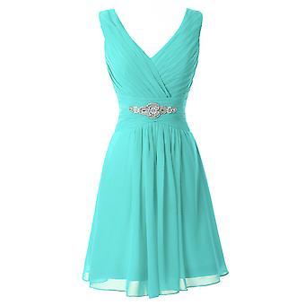 A-line V-neck Diamonds Bridesmaid Dresses
