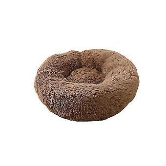 Plüss fánk kutya, macska ágy, kerek önmeleg nyugtató kisállat ágy, Cuddler Kennel Soft (KÁVÉ)