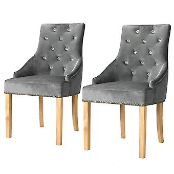 vidaXL chaises à manger 2 pcs. chêne argenté bois massif et velours