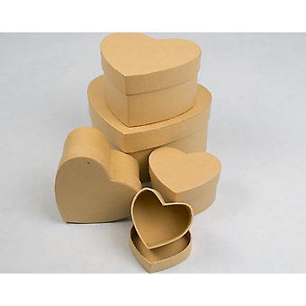6.5cm Heart High Paper Mache Box with Lid to Decorate   Papier Mache Boxes