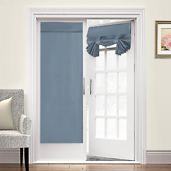 2X french door curtains thermal insulated door panel privacy door shade tricia curtain for door window curtains, stone blue