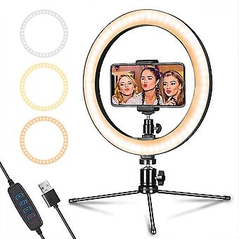 """Led Ring Light With Tripod & Mobile Phone Holder 10 """",dimmable Table Ring Light"""