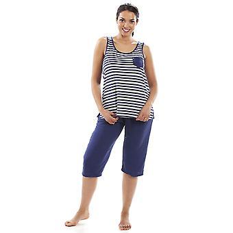 Camille Mujer Ligero Rayado Capri Inferior Pijama Set Navy