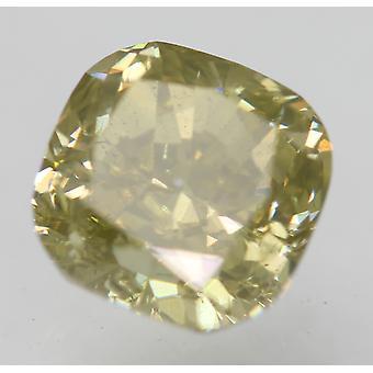 Cert 0.81 Carat Fancy Intense Yellow VS2 Cushion Natural Diamond 5.11x5.1mm