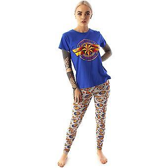 Captain Marvel Damen / Damen Logo Gedrucktes Pyjama Set