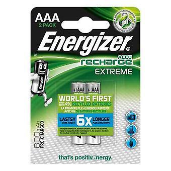 Nabíjateľné batérie Energizer E300624300 AAA HR03 800 mAh Striebro