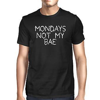 Mens grappige witte grafische gedurfde uitspraak T-Shirt - Is maandag niet mijn Bae