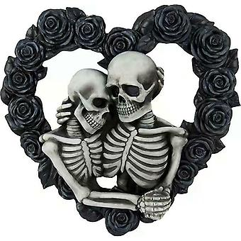 Gothic Skull Couple Wreath Halloween Black Rose Wreath