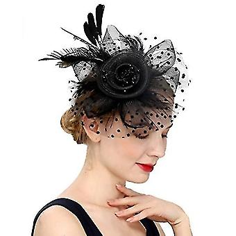 Hat For Women Tea Party , Wedding Flower Cocktail Mesh Feathers Hair Clip(Black)