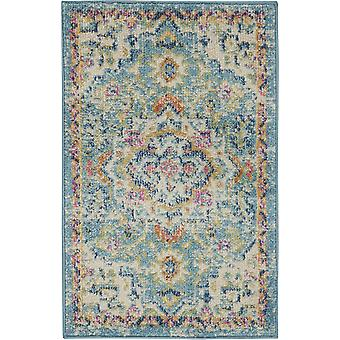 2' x 3' Light Blue and Ivory Distressed Scatter Rug