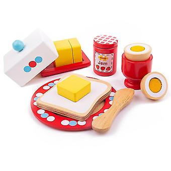 Toy kitchens play food wooden breakfast set - play food and role play for children