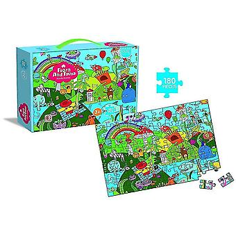 Jigsaw puzzles 180 pieces of children's educational jigsaw puzzle animals and plants 180 pieces green