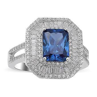 Elanza Blue Cubic Zirconia Halo Ring 925 Sterling Silber Jubiläumsgeschenk 6.08ct(T)