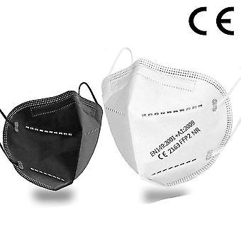 5 réteg légzőkészülék arcmaszk ffp2 95% szűrés és porgátló, ce (Fekete 200 darab)