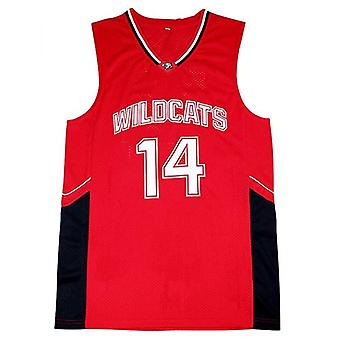 Hommes Ncaa Troy Bolton 14 High School Wildcats Basket-ball Jersey Cousu Sports T-shirt Taille S-xxl