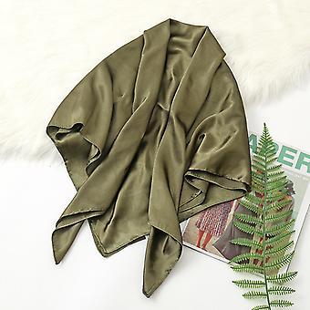 35in Cetim Cabeça lenços vintage quadrado sensação de seda, Armygreen
