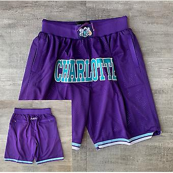 Men's Charlotte Hornets Just Don Basketball Shorts Casual Outdoor Pockets Sports Sandbeach Pants Purple Size S-xxl