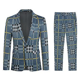Yunyun Costume décontracté pour hommes Stripe 2 pièces Slim Fit Blazer Pantalon