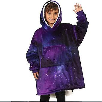 Gyerekek takaró stílusú puha meleg túlméretezett pulóver kapucnis