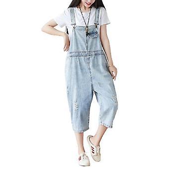 Woman Loose Retro Demin Pants Oversize Overalls