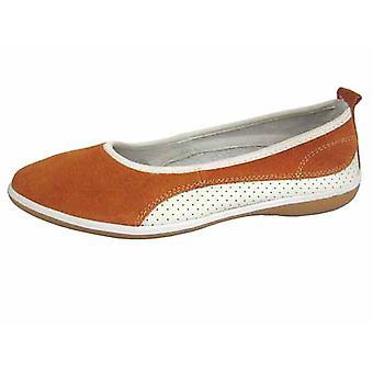 Ladies Coolers Summer Fruit Range Leather Ballet Pump Shoes 4 UK Orange