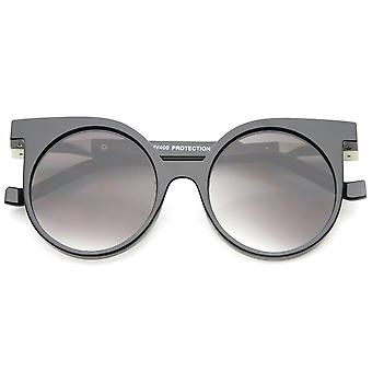 Modern Horn Rimmed Neutral-Colored Flat Lens Round Sunglasses 50mm
