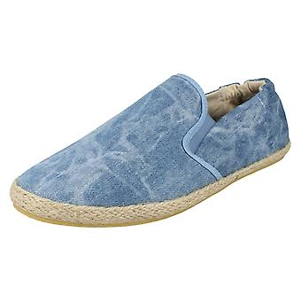 Ladies Spot On Flat Gusset Casual Espadrille with Rouched Back - F2100