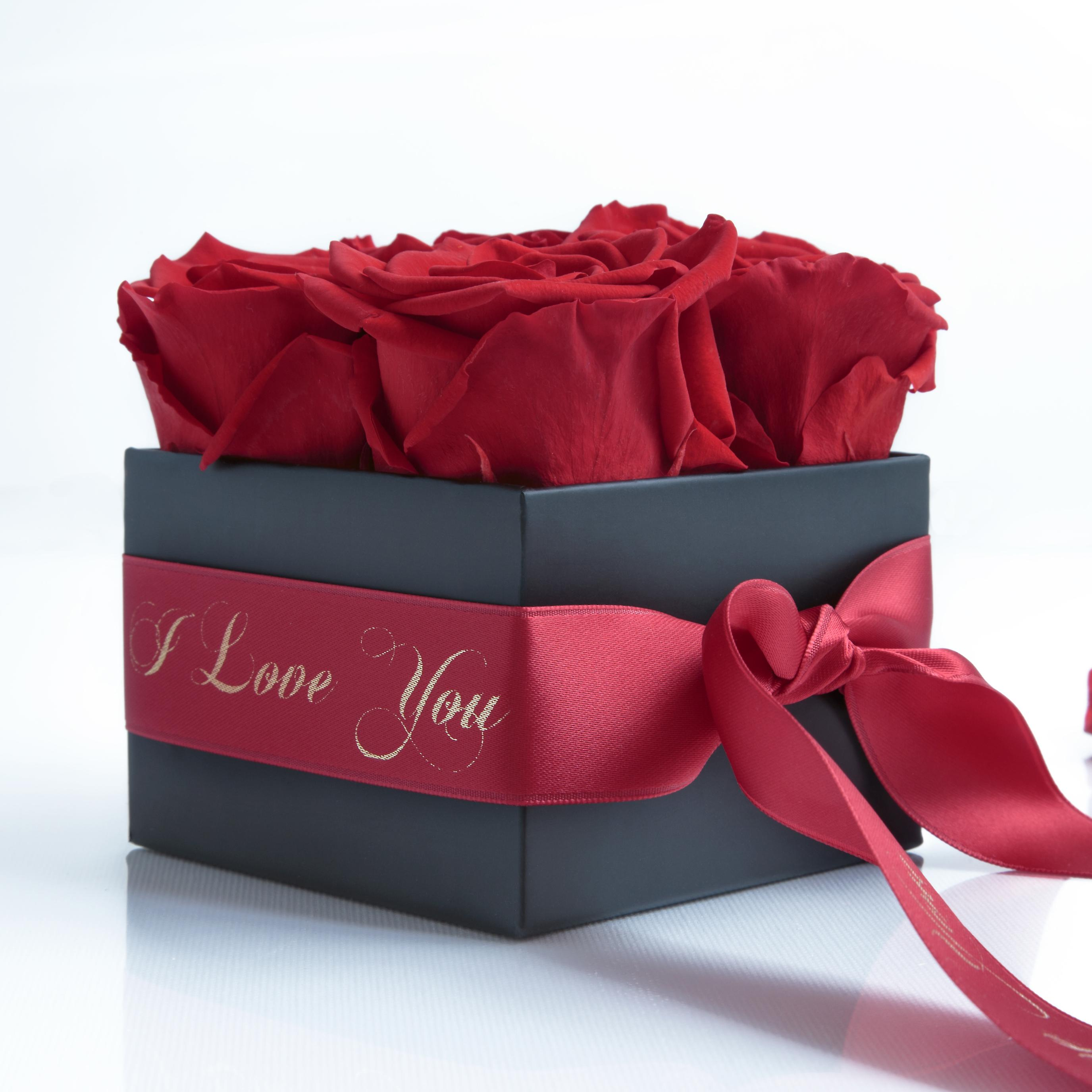 I LOVE red and satin ribbon roses preserved YOU box with 4 shelf life 3 years