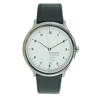 De mannen in de mondaine horloge Helvetica No1 wristwatch MH1. R2210.lb leder