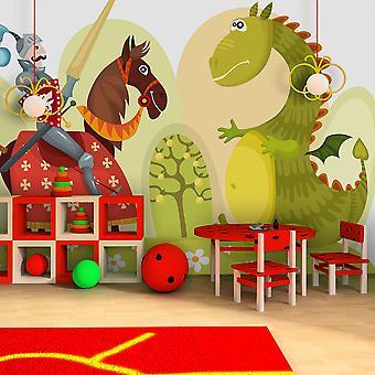 Papier peint - Dragon et chevalier