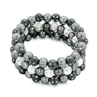 Amulettes ensemble de 3 Bracelets magnétique hématite simulé individuels en cristaux étincelants noir blanc