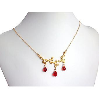 Ladies necklace Collier leaves red jade gemstone drop silver gold plated