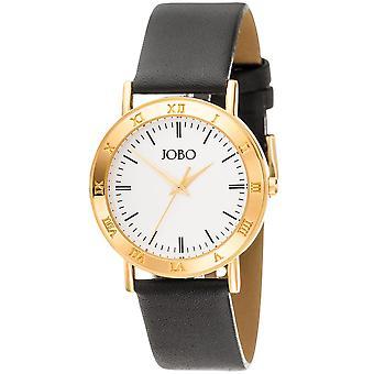 JOBO men's wristwatch quartz analog gold plated leather bracelet black