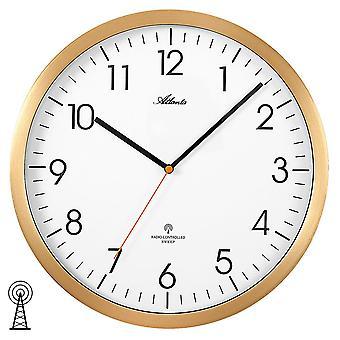 Atlanta 4382/9 wall clock radio radio kontrolleret væg ur analog gyldne runde stille og roligt uden tikkende
