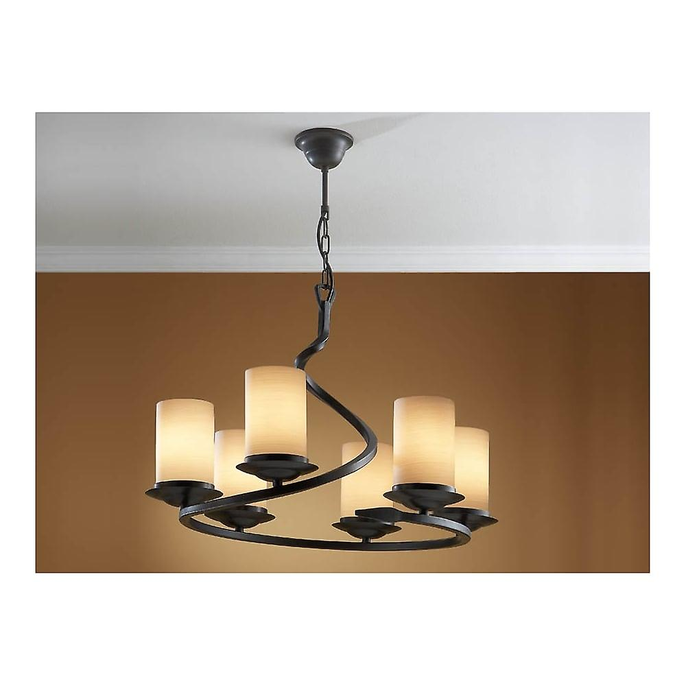 Schuller Traditional Oxide Black Hanging Opal Glass Ceiling 6 Light Pendant